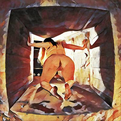 Digital Art - 6550s-lp Watercolor Of Nude Exploring Muddy Tunnel by Chris Maher