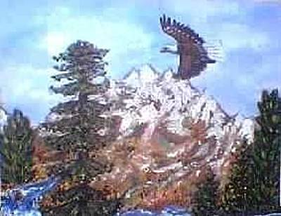 Eaglet Painting - Eagle To Eaglets In Nest by Tanna Lee Wells