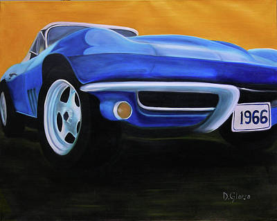 Painting - 66 Corvette - Blue by Dean Glorso