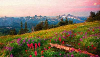 Spring Painting - Landscape Nature Scene by Margaret J Rocha
