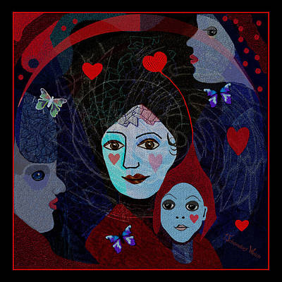 Digital Art - 665 - Mother And Child With Butterflies 2017 by Irmgard Schoendorf Welch