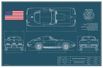 67 Corvette 427 Coupe Blueplanprint Original