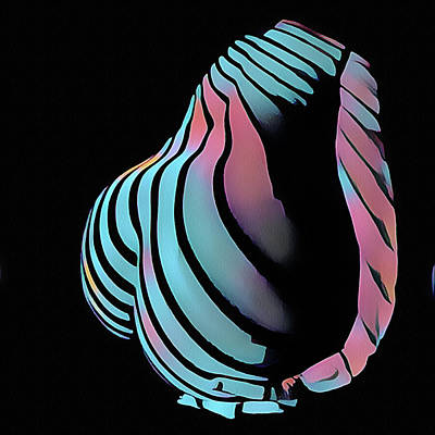 Digital Art - 6777s-nlj Backside Curves With Arm Zebra Striped Woman Rendered In Composition Style by Chris Maher