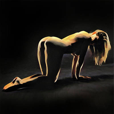 Digital Art - 6835s-amg Watercolor Of Nude Woman On Hands And Knees, Hair Hanging Down. by Chris Maher
