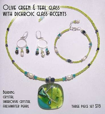 Fused Mixed Media - Olive Green And Teal Glass With Dichroic Accents by Michelle Lake