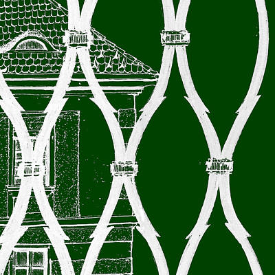 Drawing - 6.8.hungary-1-detail-g-custom-fence-inverted-background-green by Charlie Szoradi
