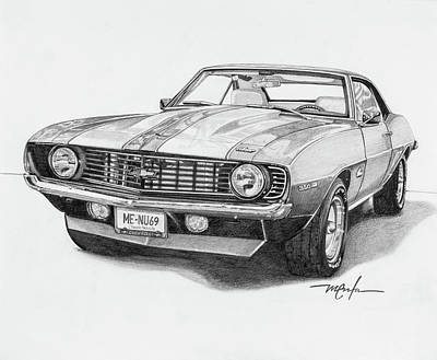 Drawing - 69 Camaro by Dan Menta