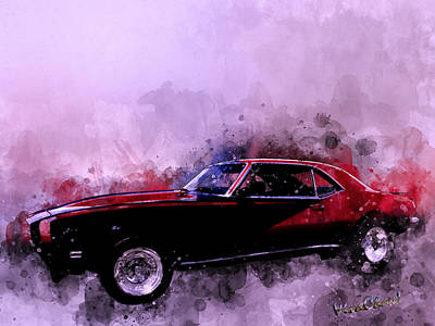 Digital Art - 69 Camaro Up At Rocky Ridge At The Lake - Watercolour by Chas Sinklier