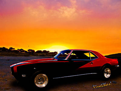 69 Camaro Up At Rocky Ridge For Sunset Art Print