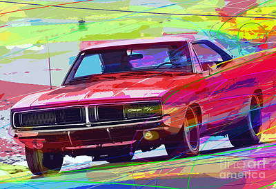 Landmarks Painting Royalty Free Images - 69 Dodge Charger  Royalty-Free Image by David Lloyd Glover