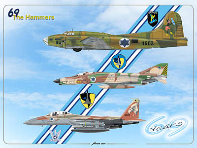 Drawing - 69 Years To The Hammers Squadron by Amos Dor