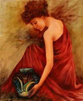 Painting - Girl With Vase by Rene Hart