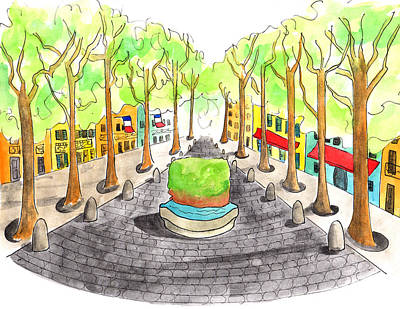 Cours Mirabeau With Trees And Fountain  Art Print