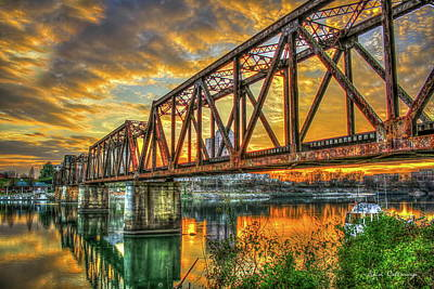 Photograph - 6th Street Sunset Drawbridge Trestle Style Rr Augusta Georgia by Reid Callaway