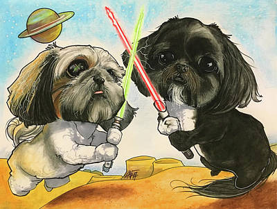 Shih Tzu Drawing - 7-1301 Schumm by John LaFree