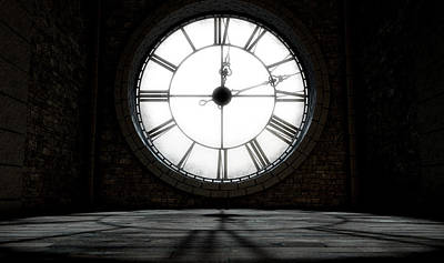 Antique Backlit Clock Art Print