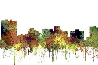 Digital Art - Arlington Texas Skyline by Marlene Watson
