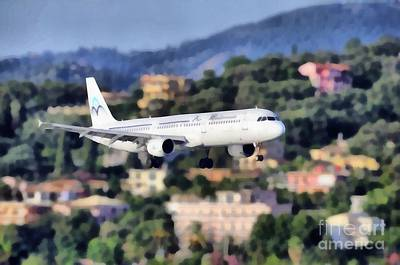 Painting - Arriving At Corfu Airport by George Atsametakis