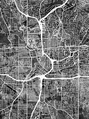 Urban Street Digital Art - Atlanta Georgia City Map by Michael Tompsett