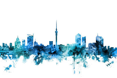 Digital Art - Auckland New Zealand Skyline by Michael Tompsett