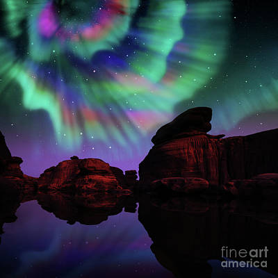 Digital Art - Aurora Over Lagoon by Atiketta Sangasaeng