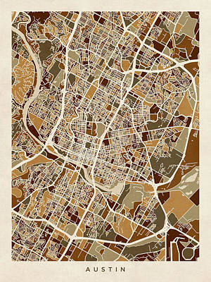 Austin Digital Art - Austin Texas City Map by Michael Tompsett