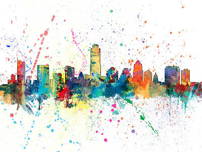 Austin Texas Skyline Art Print by Michael Tompsett