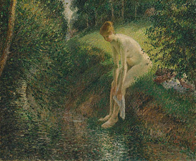 Bather In The Woods Art Print by Camille Pissarro