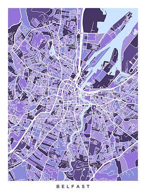 Digital Art - Belfast Northern Ireland City Map by Michael Tompsett