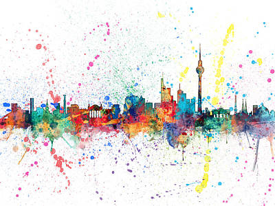 Germany Digital Art - Berlin Germany Skyline by Michael Tompsett