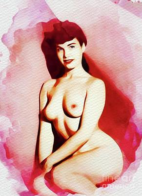 Painting - Bettie Page - Vintage Pinup by Frank Falcon