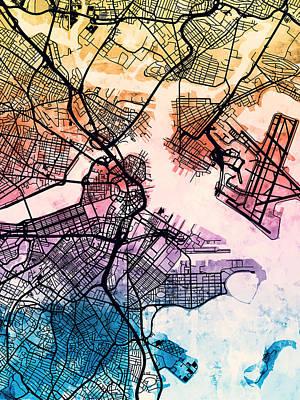 Urban Street Digital Art - Boston Massachusetts Street Map by Michael Tompsett