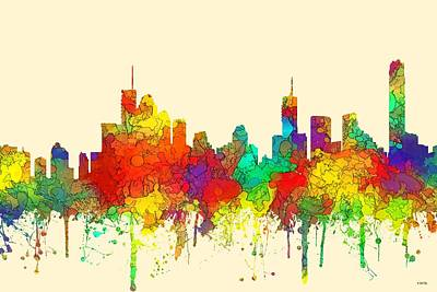 Digital Art - Brisbane  Australia Skyline  by Marlene Watson