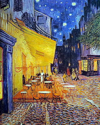 Bistro Painting -  Cafe Terrace At Night by Vincent Van Gogh