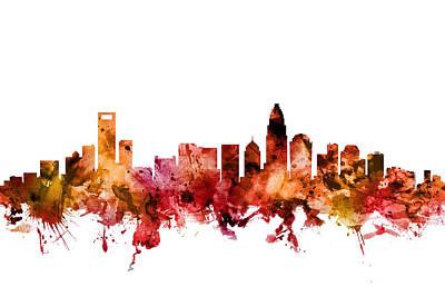 Digital Art - Charlotte North Carolina Skyline by Michael Tompsett