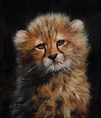 Painting - Cheetah Cub by David Stribbling