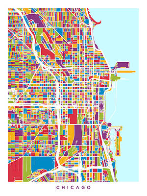 Michael Digital Art - Chicago City Street Map by Michael Tompsett