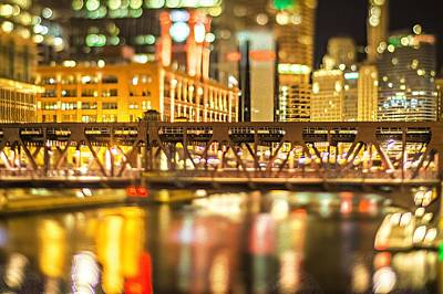 Photograph - Chicago Illinois Tilt Effect Cityscape At Night by Alex Grichenko