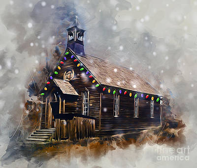 Digital Art - Church At Christmas by Ian Mitchell