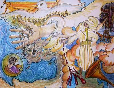 Revelation Drawing - 7 Churches by Richard  Hubal
