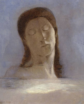 Female Painting - Closed Eyes by Odilon Redon