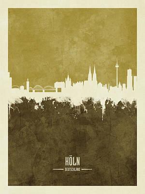 Digital Art - Cologne Germany Skyline by Michael Tompsett