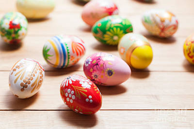 April Photograph - Colorful Hand Painted Easter Eggs On Wood by Michal Bednarek