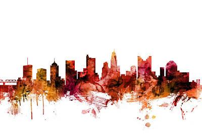 Digital Art - Columbus Ohio Skyline by Michael Tompsett