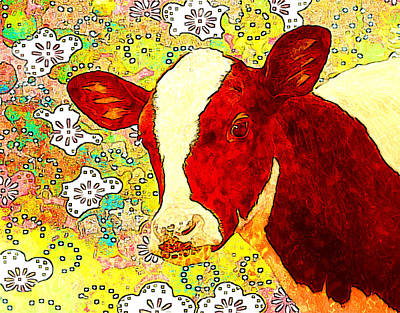 Cow Art Print by Elena Kosvincheva