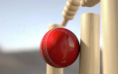Cricket Ball Hitting Wickets Print by Allan Swart