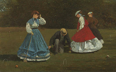 Club Scene Painting - Croquet Scene by Winslow Homer