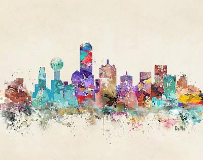 Colourfull Digital Art - Dallas Texas Skyline by Bri B