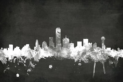 Blackboards Digital Art - Dallas Texas Skyline by Michael Tompsett