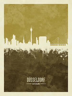 Digital Art - Dusseldorf Germany Skyline by Michael Tompsett